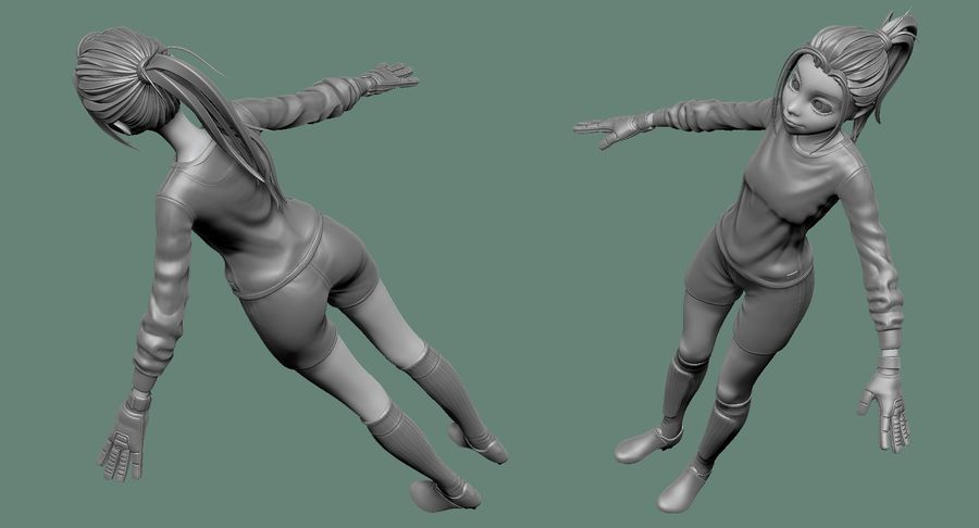 Cartoon Woman Soccer Goal Keeper Sculpt royalty-free 3d model - Preview no. 14