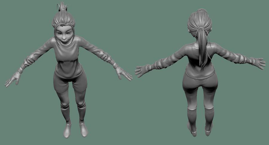 Cartoon Woman Soccer Goal Keeper Sculpt royalty-free 3d model - Preview no. 15
