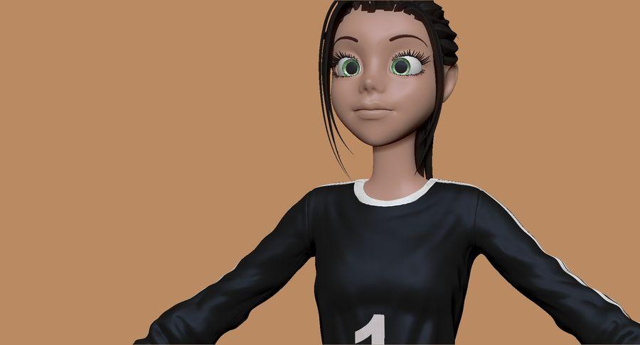 Cartoon Woman Soccer Goal Keeper Sculpt royalty-free 3d model - Preview no. 12