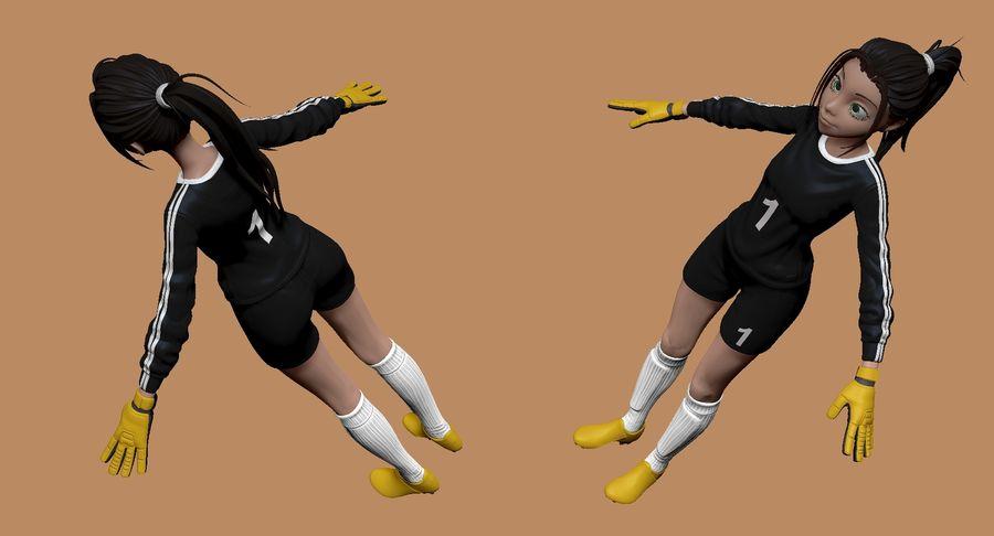 Cartoon Woman Soccer Goal Keeper Sculpt royalty-free 3d model - Preview no. 3