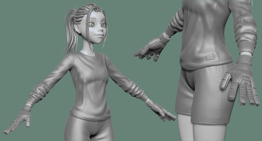 Cartoon Woman Soccer Goal Keeper Sculpt royalty-free 3d model - Preview no. 17