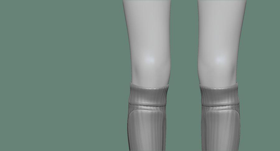 Cartoon Woman Soccer Goal Keeper Sculpt royalty-free 3d model - Preview no. 30