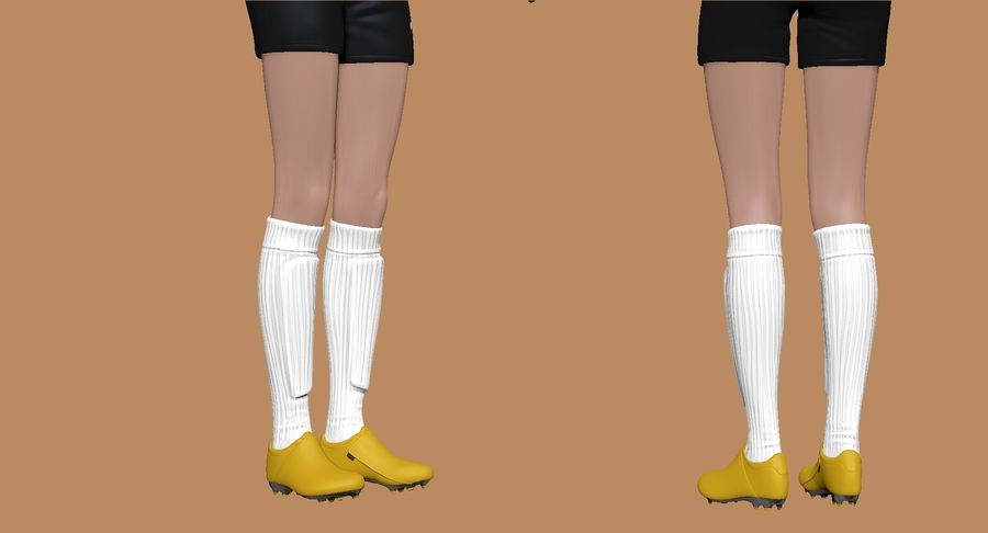 Cartoon Woman Soccer Goal Keeper Sculpt royalty-free 3d model - Preview no. 7