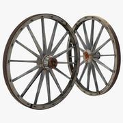 오래된 나무 수레 바퀴 3d model
