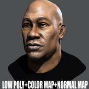 Low Poly Head Male black african 1 3d model