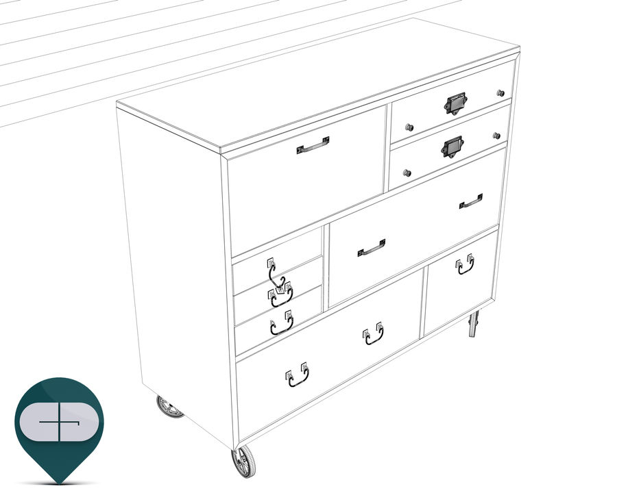 industrial sideboard royalty-free 3d model - Preview no. 12