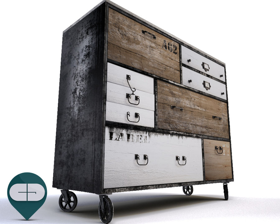 industrial sideboard royalty-free 3d model - Preview no. 1