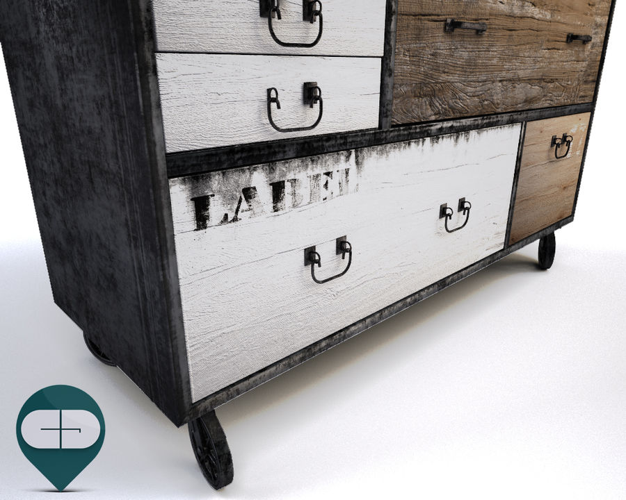 industrial sideboard royalty-free 3d model - Preview no. 7