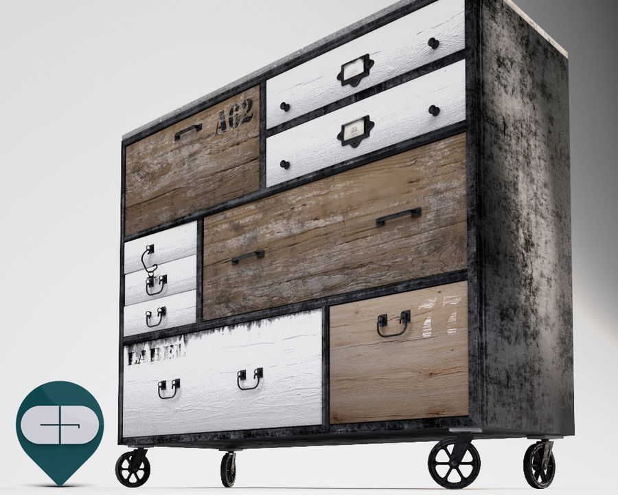 industrial sideboard royalty-free 3d model - Preview no. 10