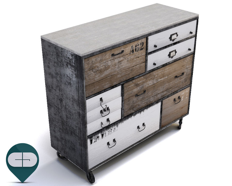 industrial sideboard royalty-free 3d model - Preview no. 3