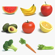 Coleção de frutas e legumes 3d model