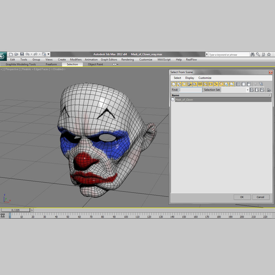 Clown Mask royalty-free 3d model - Preview no. 17