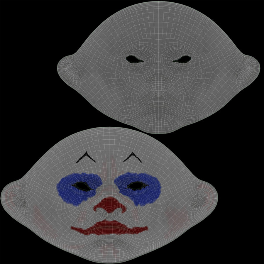 Clown Mask royalty-free 3d model - Preview no. 15