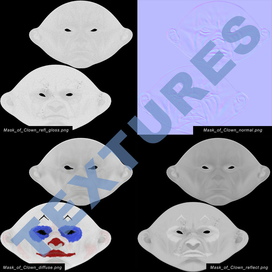 Clown Mask royalty-free 3d model - Preview no. 16