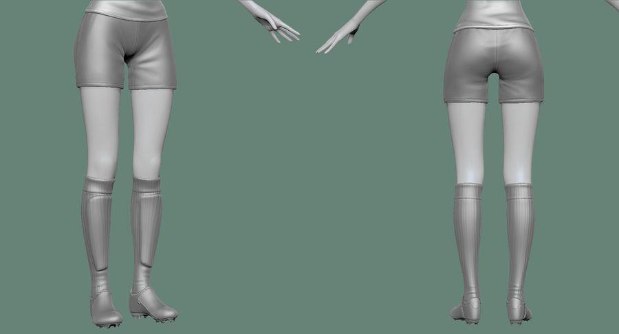 Cartoon Woman Soccer Player Sculpt royalty-free 3d model - Preview no. 25