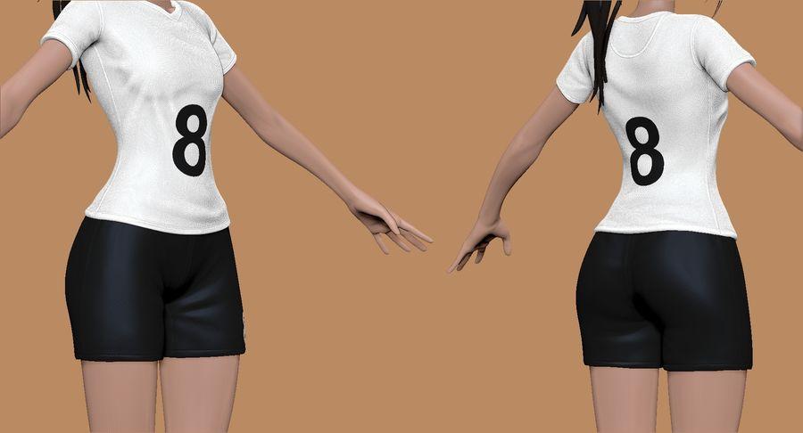 Cartoon Woman Soccer Player Sculpt royalty-free 3d model - Preview no. 7