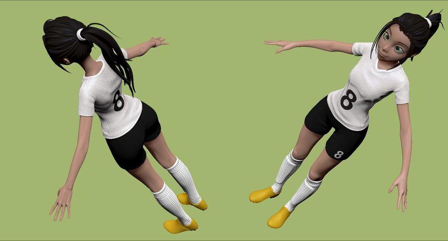 Cartoon Woman Soccer Player Sculpt royalty-free 3d model - Preview no. 5