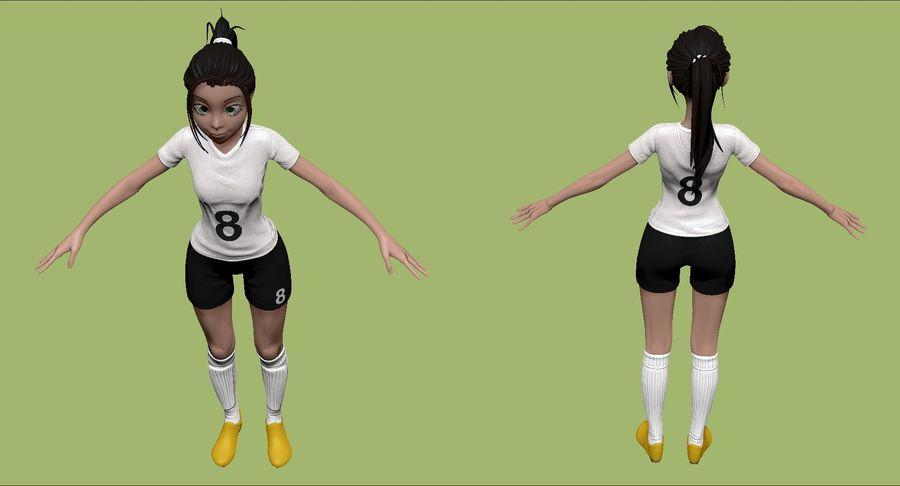 Cartoon Woman Soccer Player Sculpt royalty-free 3d model - Preview no. 4