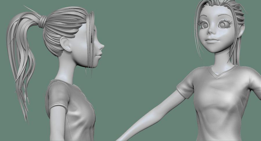 Cartoon Woman Soccer Player Sculpt royalty-free 3d model - Preview no. 18