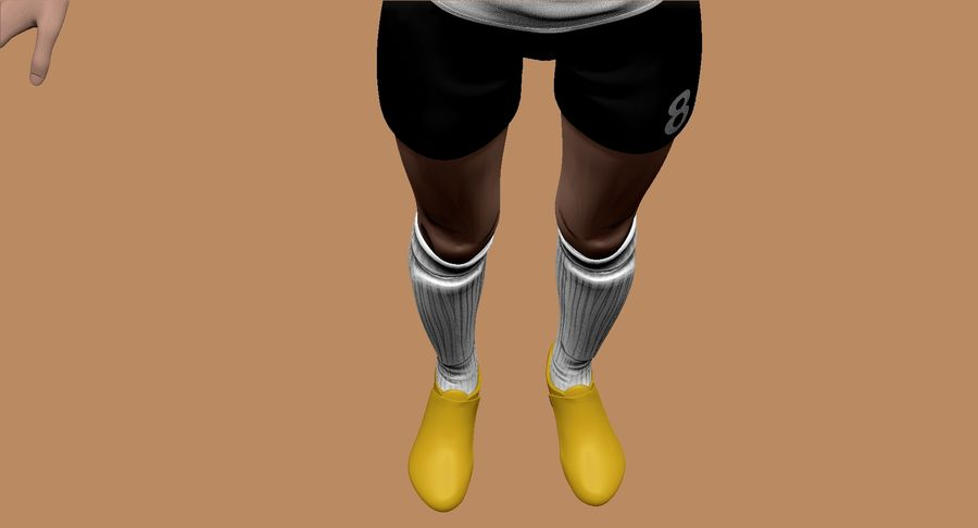 Cartoon Woman Soccer Player Sculpt royalty-free 3d model - Preview no. 11
