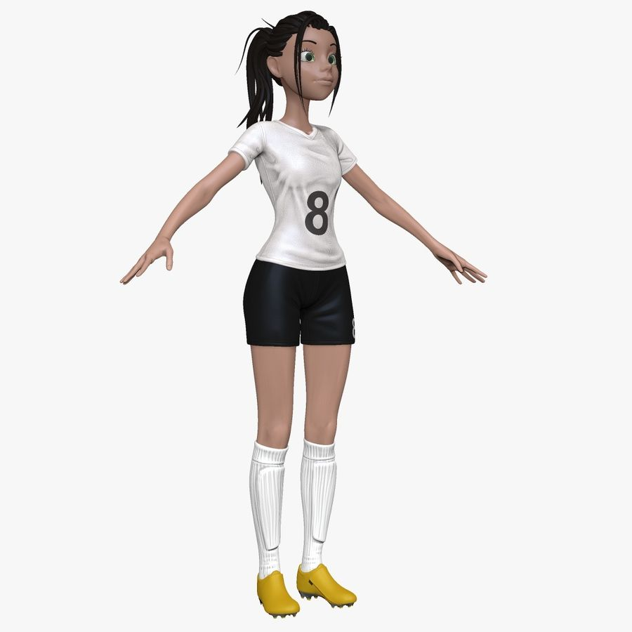 Cartoon Woman Soccer Player Sculpt royalty-free 3d model - Preview no. 1