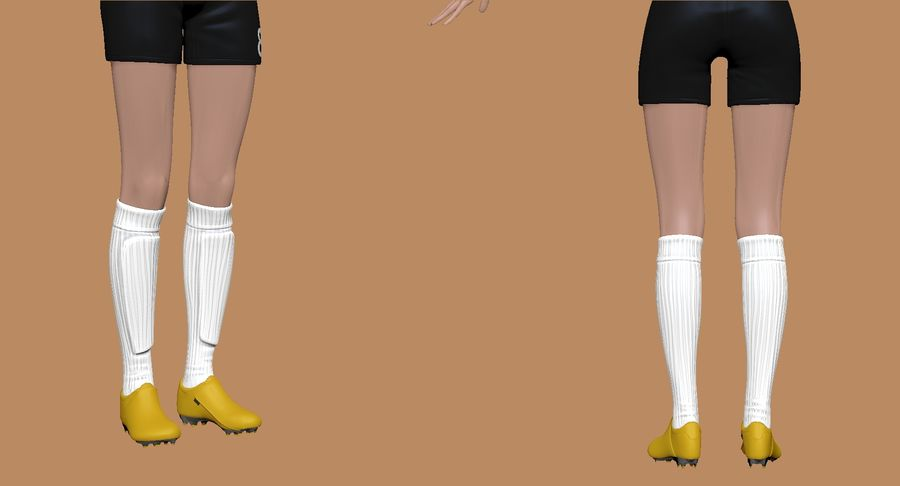 Cartoon Woman Soccer Player Sculpt royalty-free 3d model - Preview no. 10