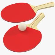 Bola de pingue-pongue e remo 3d model