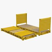 Vlakke rek inklapbare container geel 3d model