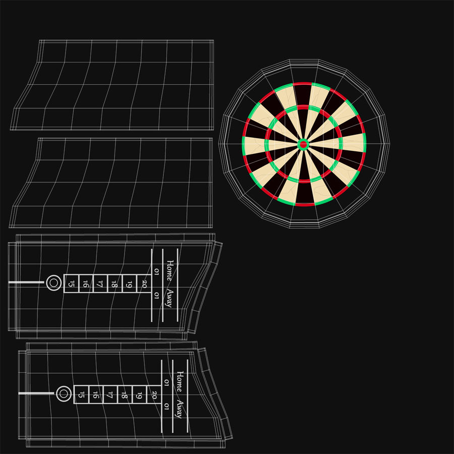 Dart Board 3 royalty-free 3d model - Preview no. 21