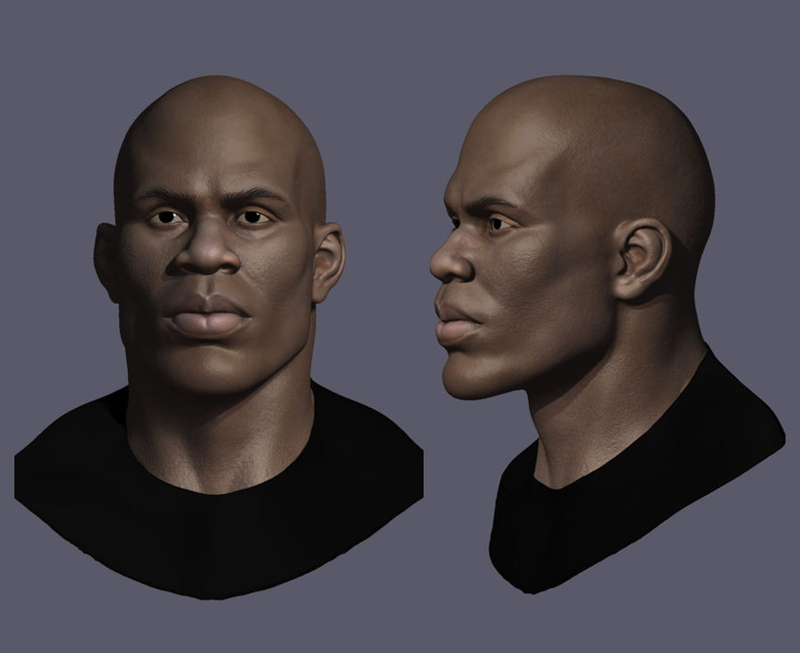 High Poly Head Male african 3 royalty-free 3d model - Preview no. 4