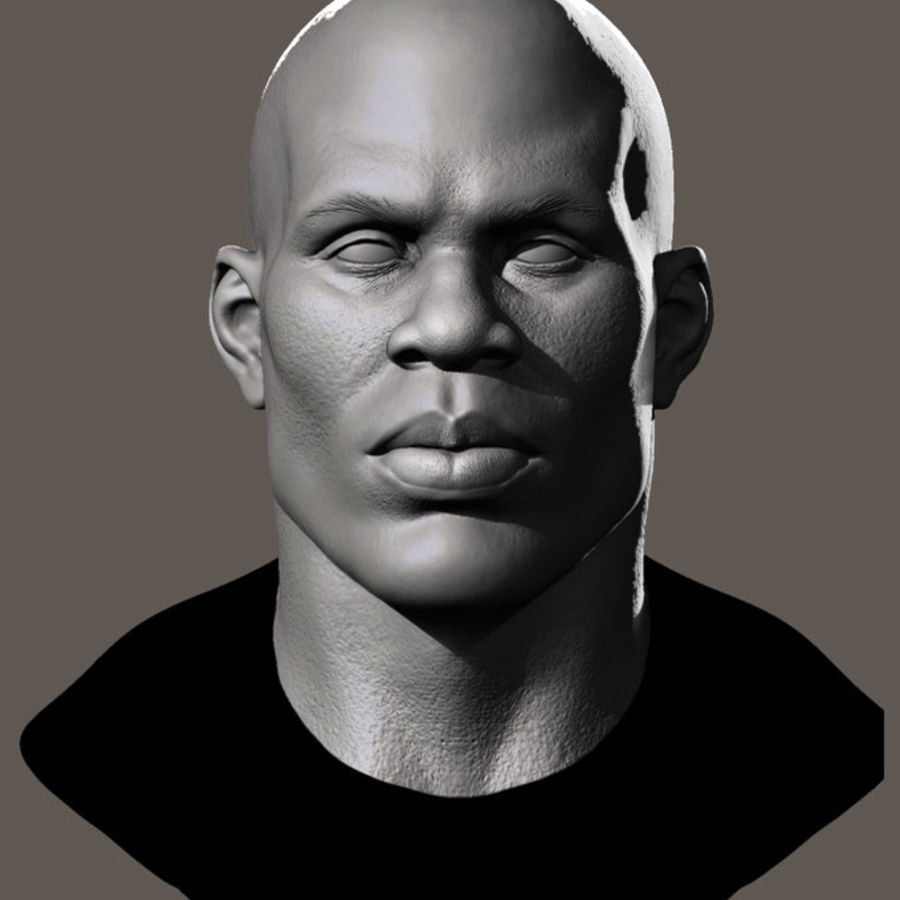 High Poly Head Male african 3 royalty-free 3d model - Preview no. 2