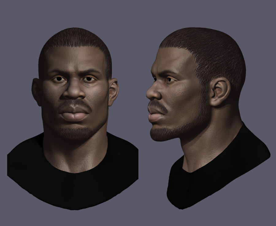 High Poly Head Male african 3 royalty-free 3d model - Preview no. 5