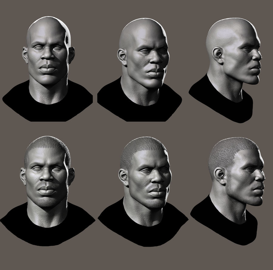 High Poly Head Male african 3 royalty-free 3d model - Preview no. 3