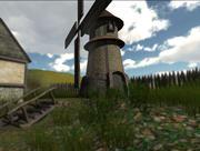 Middeleeuwse windmolen (geanimeerd + geluid) 3d model