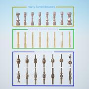 8 tunga svängda blåsor 8 vanliga svängda blåsor 14 verandespindlar Plus 3 VRay-material för lek med den 3d model
