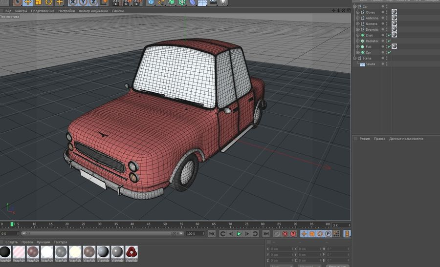 Cartoon car(1)(1) royalty-free 3d model - Preview no. 7