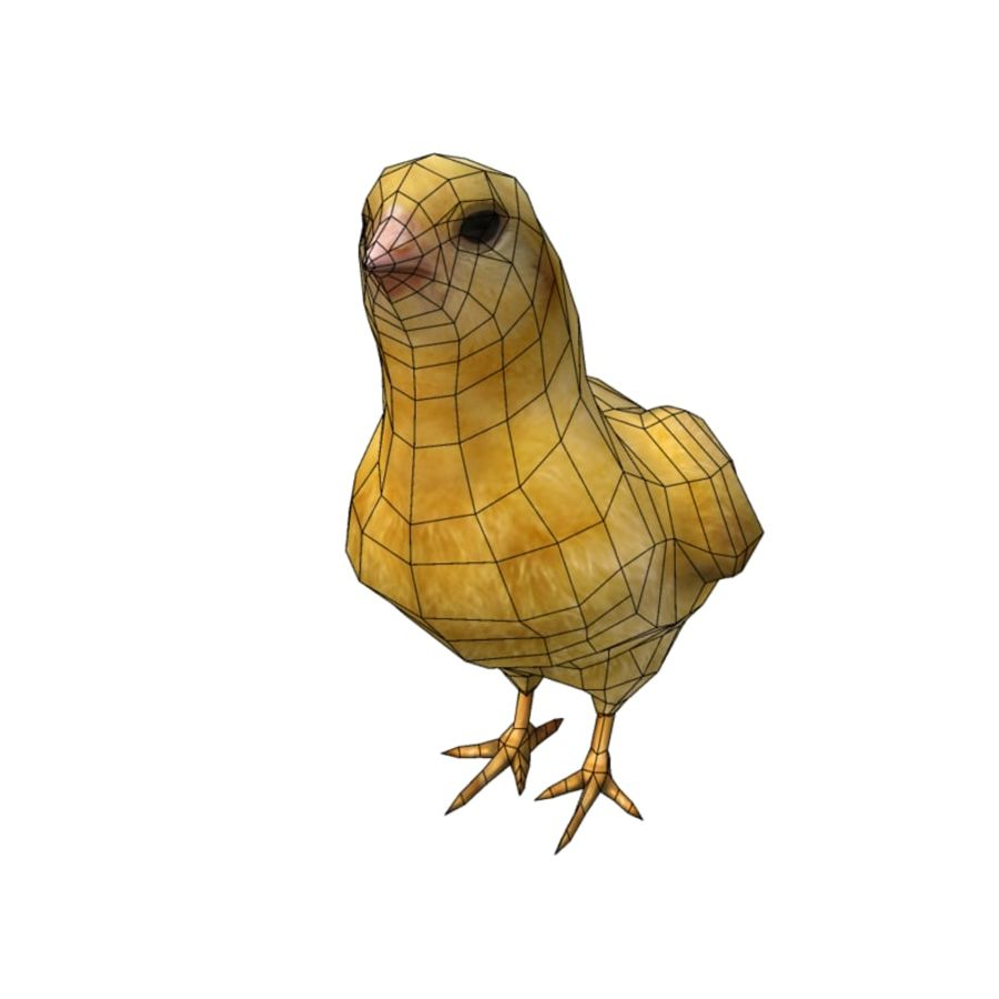 Chick  hen low poly royalty-free 3d model - Preview no. 1