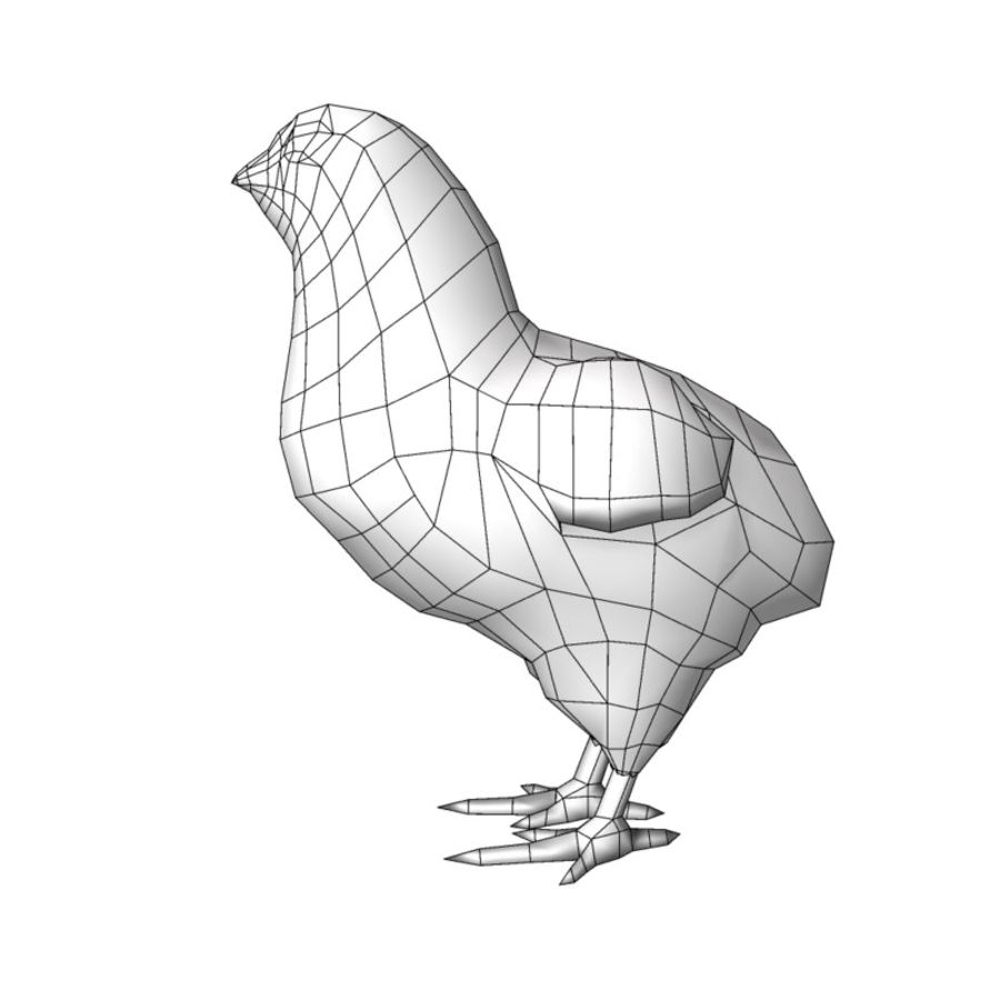 Chick  hen low poly royalty-free 3d model - Preview no. 7