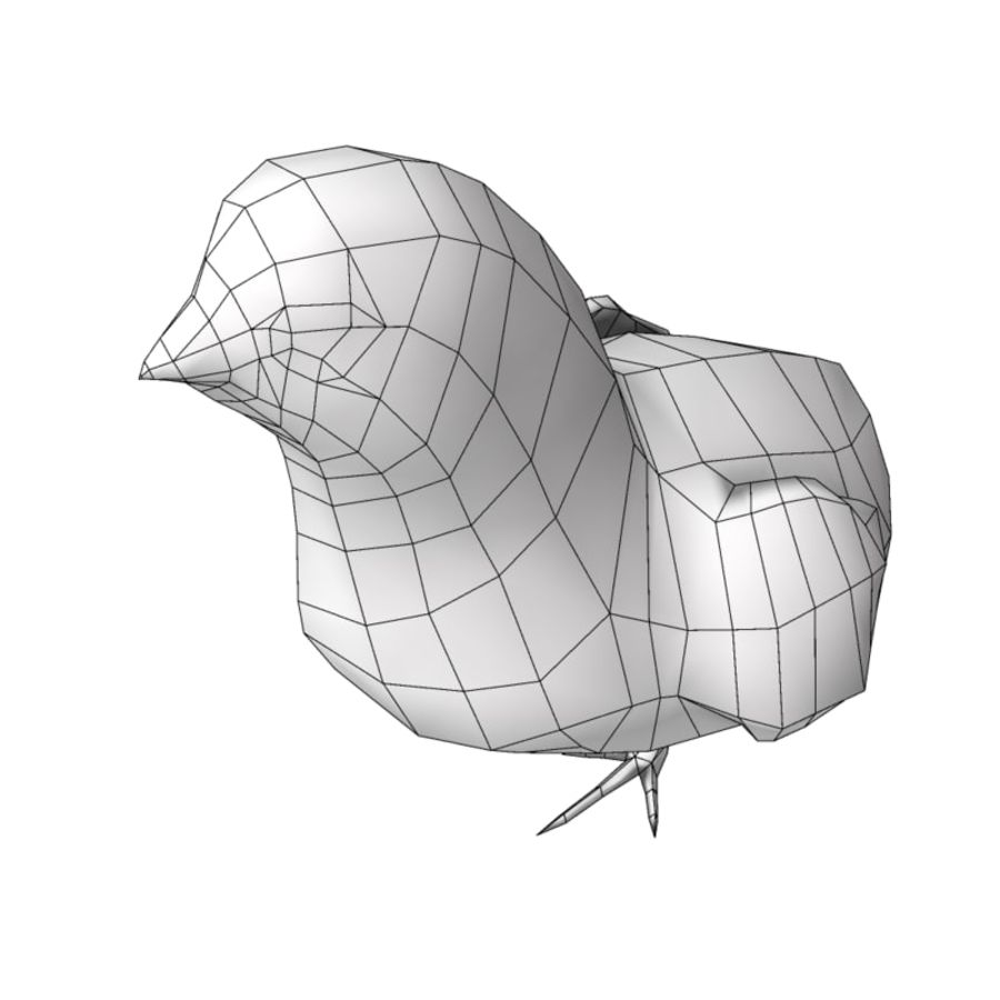 Chick  hen low poly royalty-free 3d model - Preview no. 8