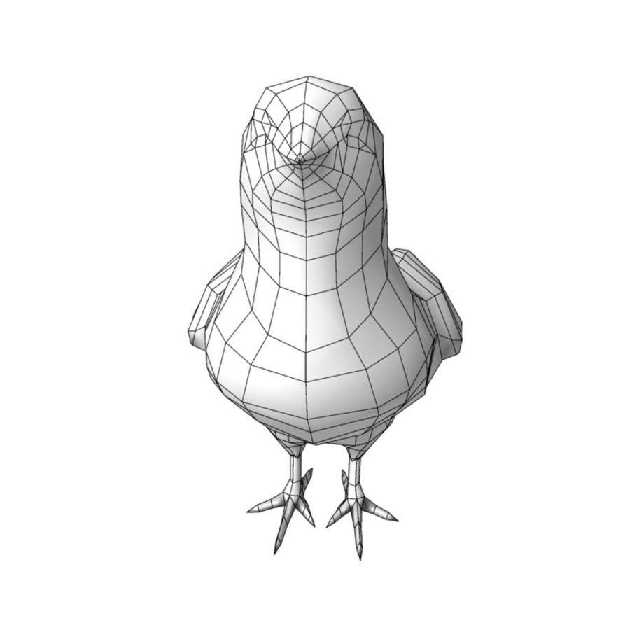 Chick  hen low poly royalty-free 3d model - Preview no. 6