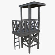 Lifeguard tower one weathered 3d model
