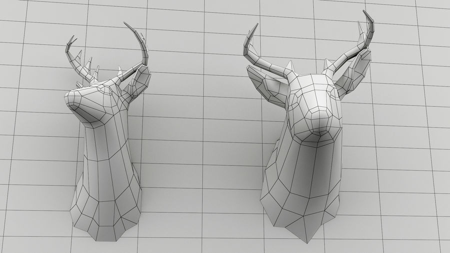 Taxidermie des cerfs (low poly) royalty-free 3d model - Preview no. 6