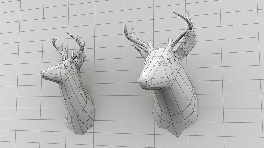 Taxidermie des cerfs (low poly) royalty-free 3d model - Preview no. 4