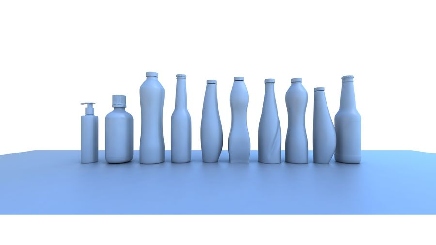 Various Bottles royalty-free 3d model - Preview no. 1