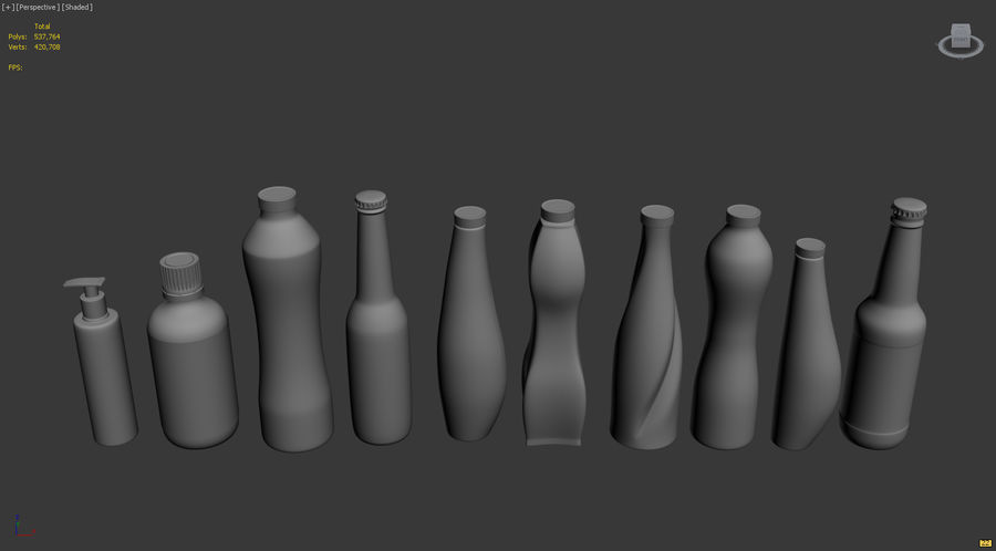 Various Bottles royalty-free 3d model - Preview no. 2