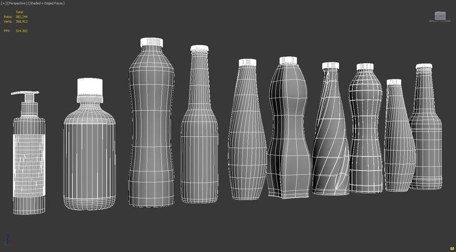 Various Bottles royalty-free 3d model - Preview no. 5