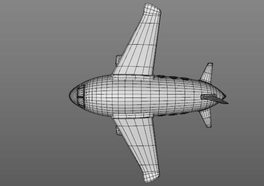 Cartoon Aeroplane royalty-free 3d model - Preview no. 3