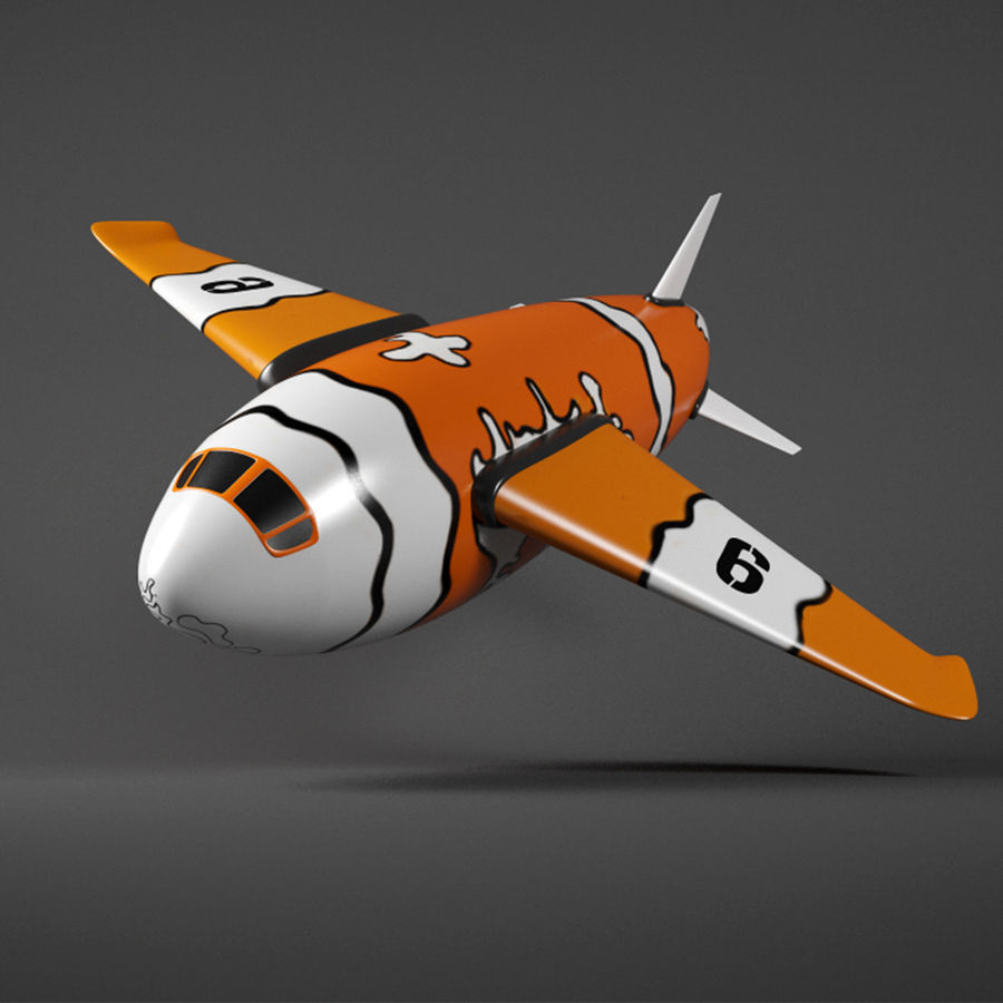 Cartoon Aeroplane royalty-free 3d model - Preview no. 1