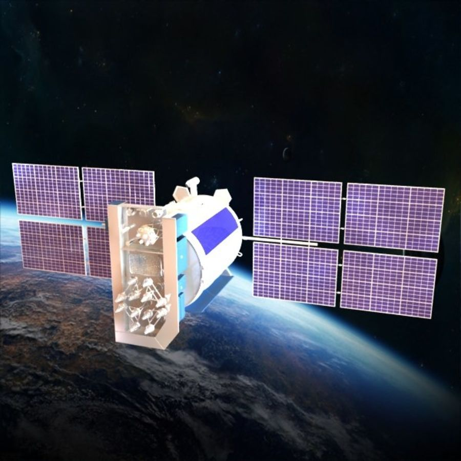 Satellite Glonass royalty-free 3d model - Preview no. 2