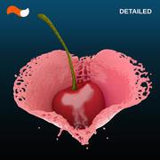 Spruzzata liquida del cuore dettagliata 3d model